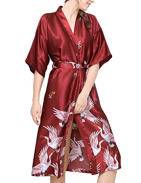 Aensso Women s Satin Robe Long Kimono Bathrobe Short Sleeve V-neck Nightgown e5b32e176
