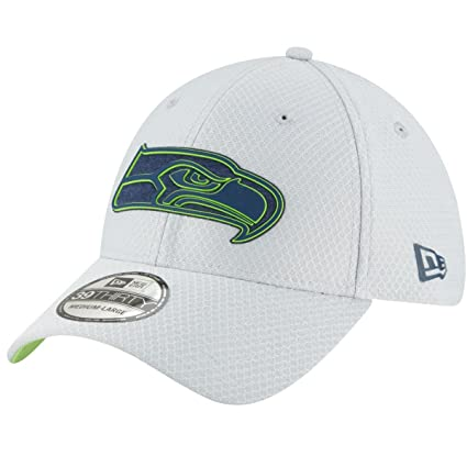 more photos 154ff 99b11 New Era Men s Seattle Seahawks Sideline Training Camp 39Thirty Grey Stretch  Fit Hat Cap (Medium