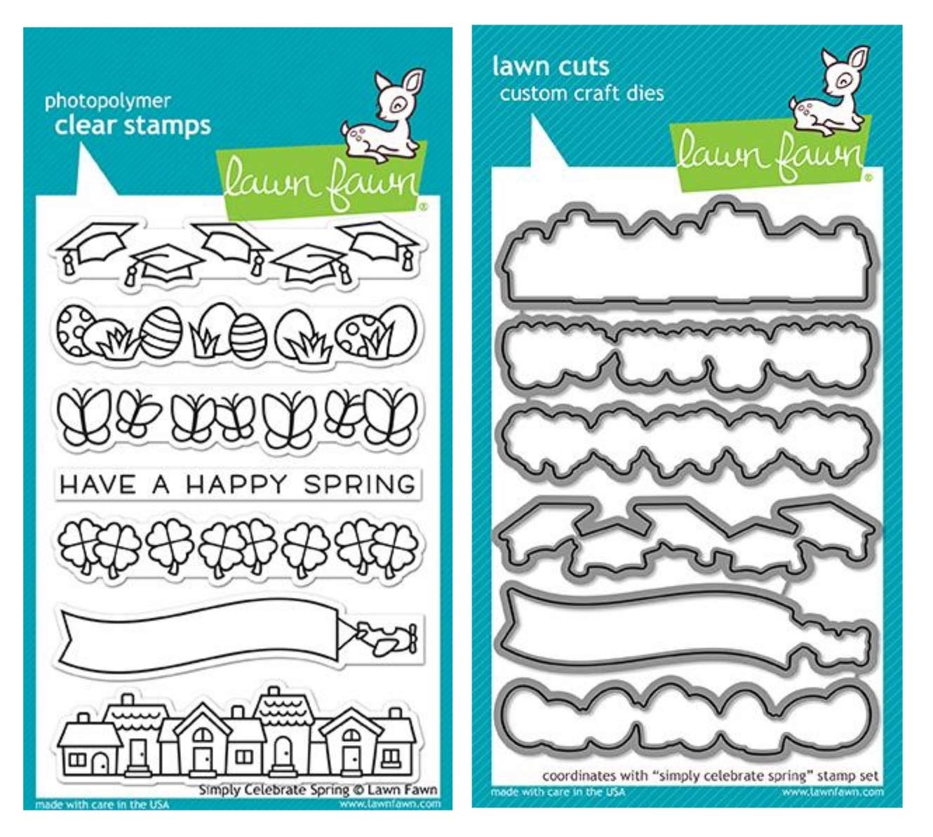 Lawn Fawn Simply Celebrate Spring 4''x6'' Clear Stamps and Matching Lawn Cuts Die Set (LF1896, LF1897), Bundle of Two Items