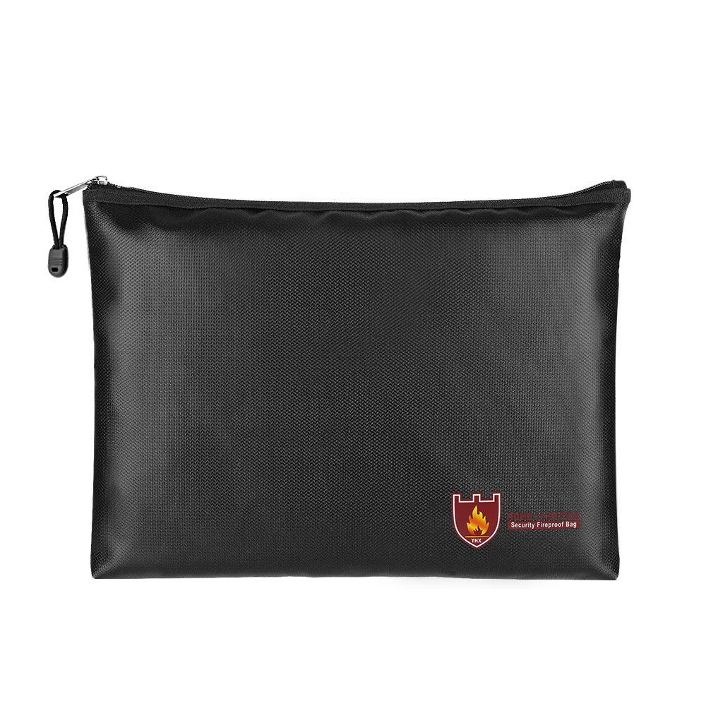 Fireproof Money & Document Bag, MoKo B5 Size (11.8' x 8.2') Small Fire & Water Resistant Envelope File Holder Safe Zipper Pouch for Protecting Valuables, Passport, Documents, Cash, Jewelry, Black