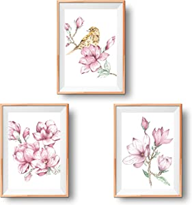 Floral Wall Art Prints | Set of 3 Magnolia Leaf Wall Decor Posters | Watercolour Art Plant Room Decor | Cute Aesthetic Sparrow Floral Prints Wall Deco | Botanical Wall Art Poster Set UNFRAMED (8x11)