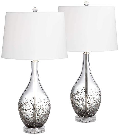 Amazon.com: Sparrow gris humo lámpara de mesa de vidrio ...