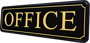Office Sign for Door or Wall - Main Office Signs — Quick Easy Installation - Self-Adhesive for Doors or Walls — 9 X 3 in - in Office Sign for Home and Business Sign - Big Letters on Black Plate.