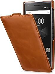StilGut UltraSlim Case, Custodia Flip Case per Blackberry Motion in Vera Pelle, Cognac