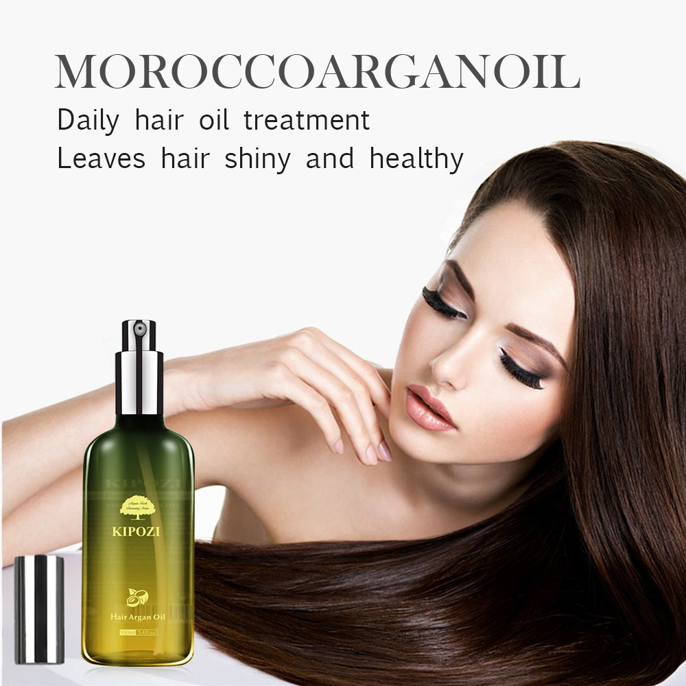 KIPOZI Argan Oil for Hair,Heat Protector Anti-Frizz Hair Repair Serum Leave in Treatment for Frizz Control, Shine and Straightening,Repair Damage Hair&Split ends,3.4 fl. Oz by kipozi (Image #4)