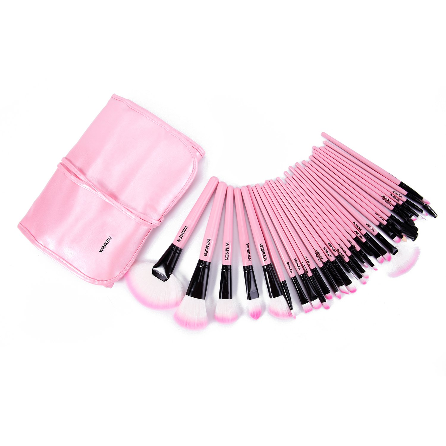 Make up for you Brand Professional Superior Soft Cosmetic Makeup Brush Set Kit Women Pink 32 Pcs Makeup Sets + Pouch Bag Case WIMKEN