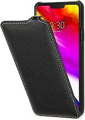 StilGut UltraSlim, Housse en Cuir pour LG G7 ThinQ. Étui de Protection à Ouverture Verticale en Cuir Fin et léger pour LG G7 ThinQ, Noir