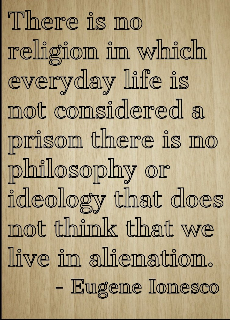 ''There is no religion in which everyday...'' quote by Eugene Ionesco, laser engraved on wooden plaque - Size: 8''x10''