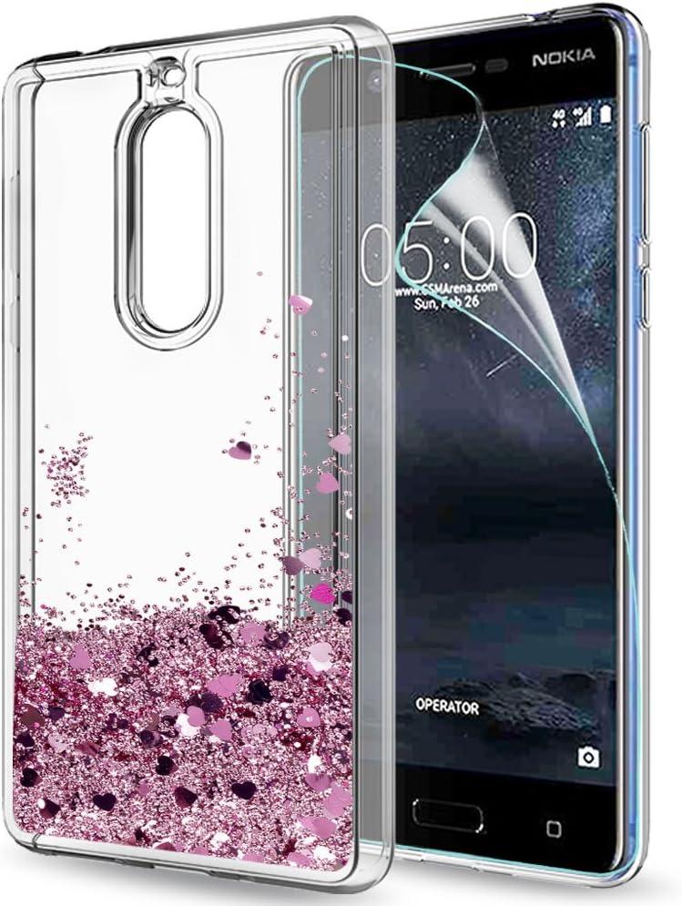 LeYi Funda Nokia 5 Silicona Purpurina Carcasa con HD Protectores ...