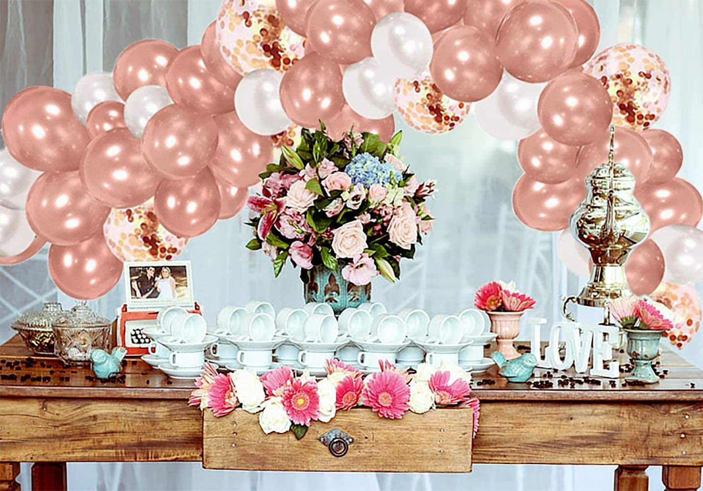 Balloon Arch Kit with A Balloon Chain and a Glue Dot Congratulation Party or Christmas Decoration Balloons Arches Composition 130Psc Rose Gold Ballon Arch Kit for Wedding Birthday