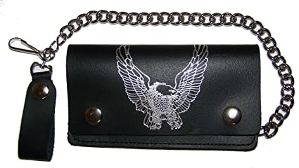 b7e37c3861ae Amazon.com: EAGLE WITH WINGS UP 6 INCH TRUCKER Mens Biker Leather ...