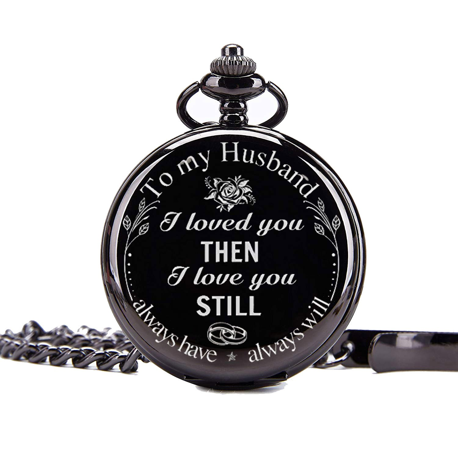 Mainbead Engraved Personalized Pocket Watch, Mens Pocket Watch Pocket Watch To Husband Gift From Wife To Husband,To my Husband I love you Pocket Watch,Husband Gift, Best Anniversary Gifts For Him