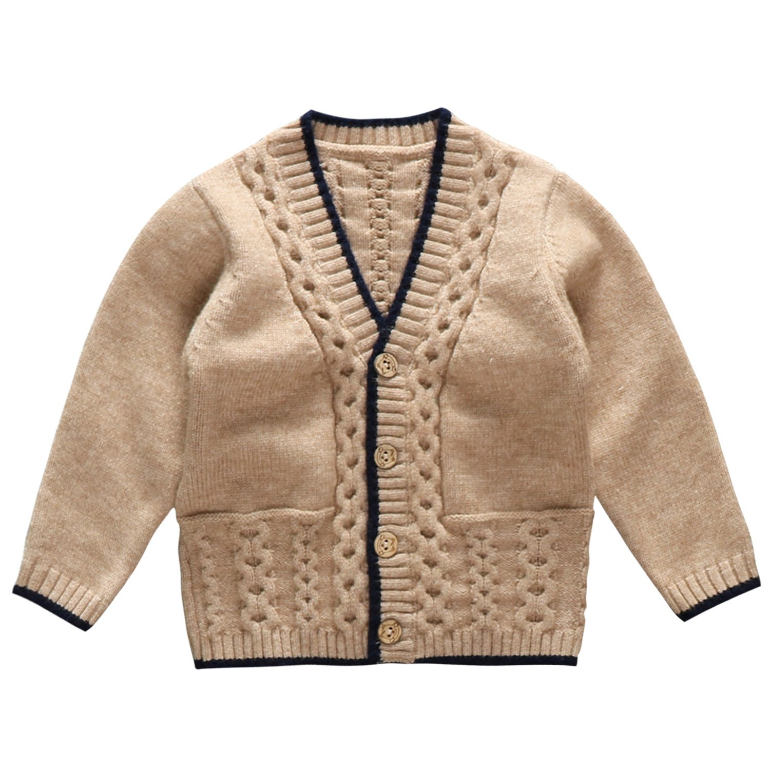 Coodebear Baby Boys' V Collar Cashmere Pocket Knitting Cardigan Winter Sweater