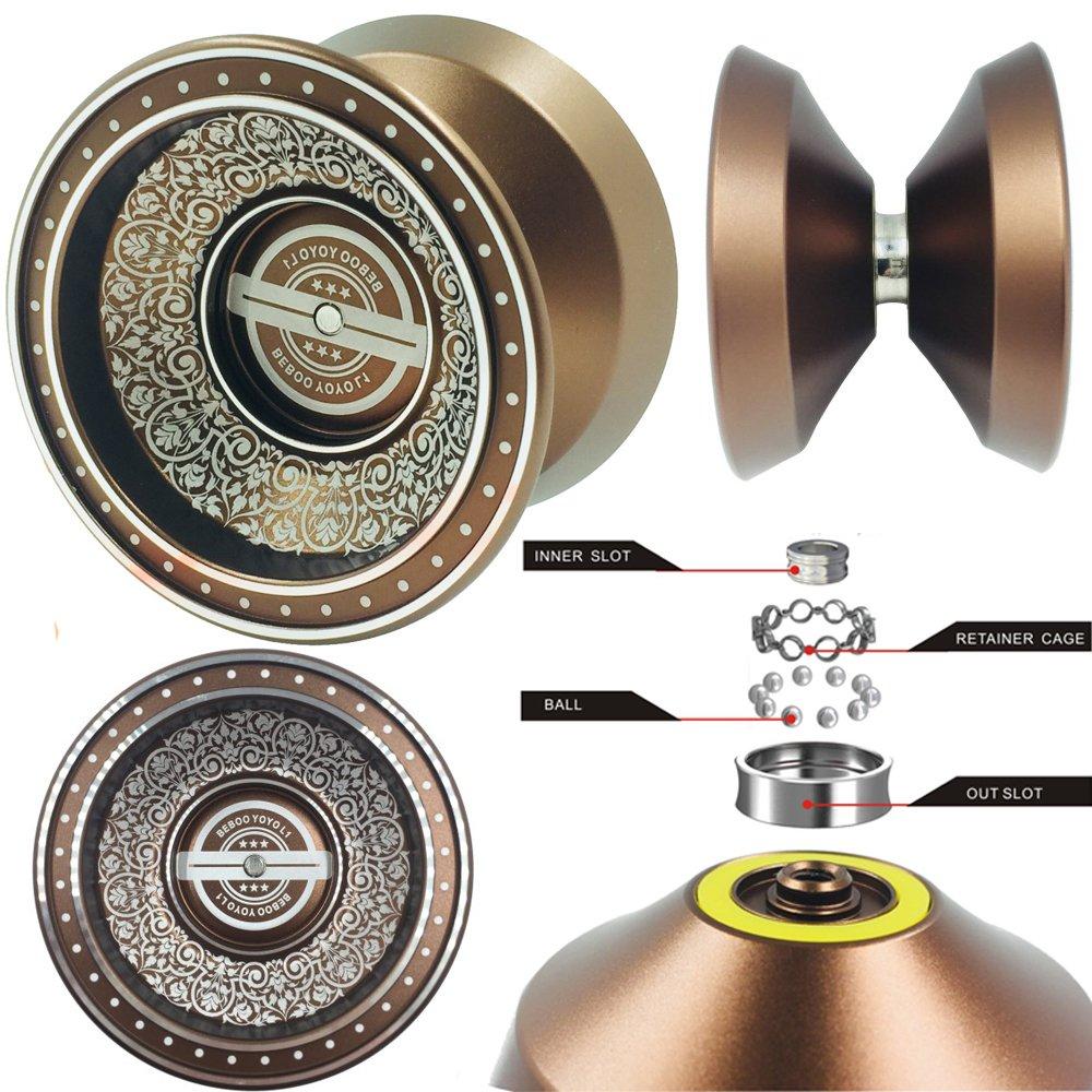 Lidodo YOYO Professional, NEWEST Design with SILVER ACID Aluminum Alloy High Speed Professional Unresponsive Yoyo Balls,Ball Bearing Trick Yo-yo,Pro yoyo (Brown)