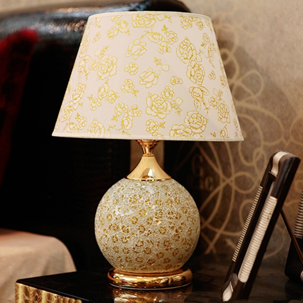 Luxury Glass Table Lamp Up And Down Double Control Energy Saving Lamp European Wedding Bedroom Bedside Lamp ( Color : Gold , Size : A )