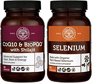 Global Healing CoQ10 & BioPQQ with Pure Himalayan Organic Shilajit & Selenium Kit - Advanced Heart, Brain Support & Antioxidant Supplement For Thyroid Support & Immune System Health - 60 Capsules Each