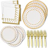 Gold Dot and White Party Pack 50 Paper Dinner Plates 50 Dessert Plates 100 Luncheon Napkins and 100 Gold Forks Disposable for Baby Bridal Shower Birthday Anniversary Wedding Supplies Decorations