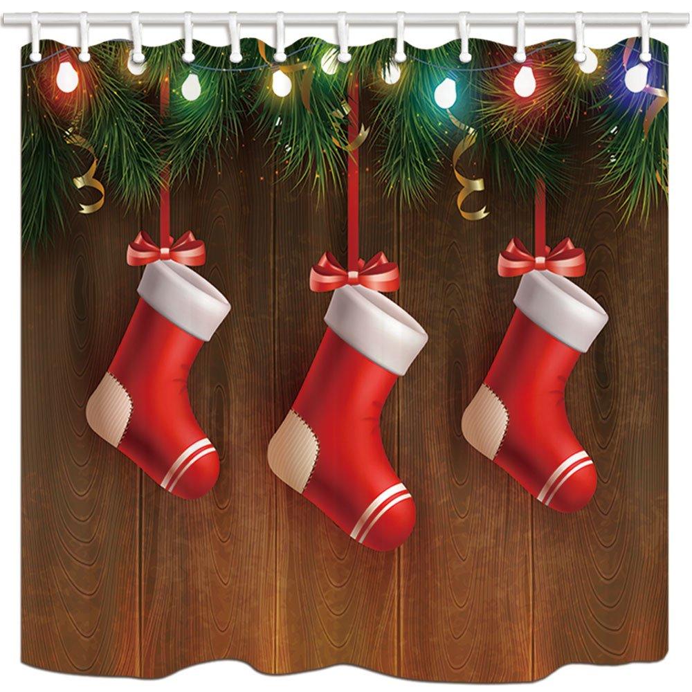 KOTOM Weihnachten Wasserdicht Duschvorhang, Band hängende Strümpfe ...