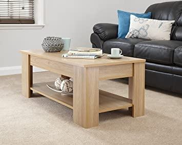 MODERN CONTEMPORARY EXCLUSIVE OAK LIFT UP COFFEE TABLE LIVING ROOM CENTRE LARGE STORAGE AREA