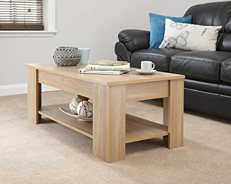 MODERN CONTEMPORARY EXCLUSIVE OAK LIFT UP COFFEE TABLE LIVING ROOM CENTRE  TABLE LARGE STORAGE AREA U0026