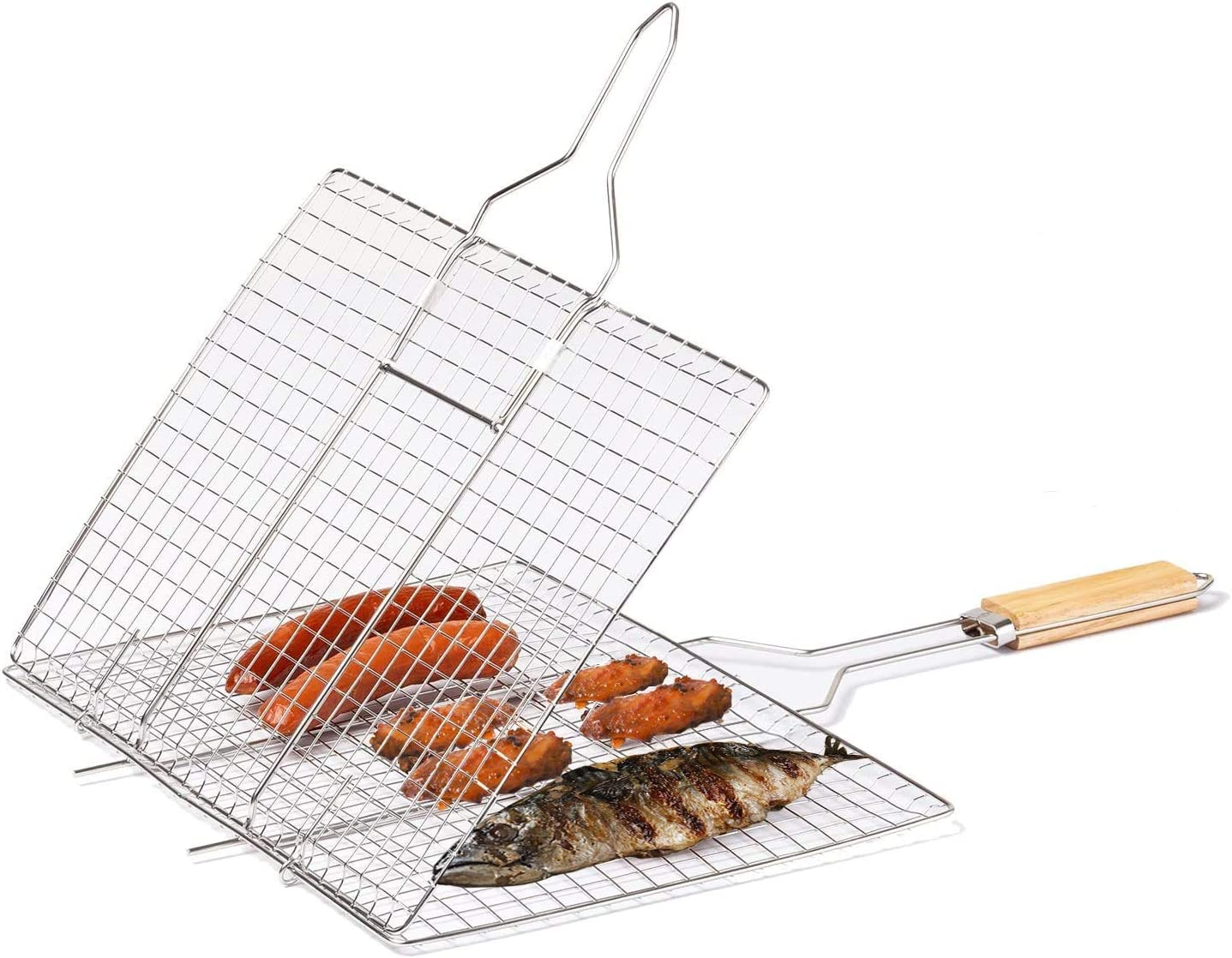 Portable BBQ Grilling Cage Tools for Deppon Grilling Basket with Wooden Handle