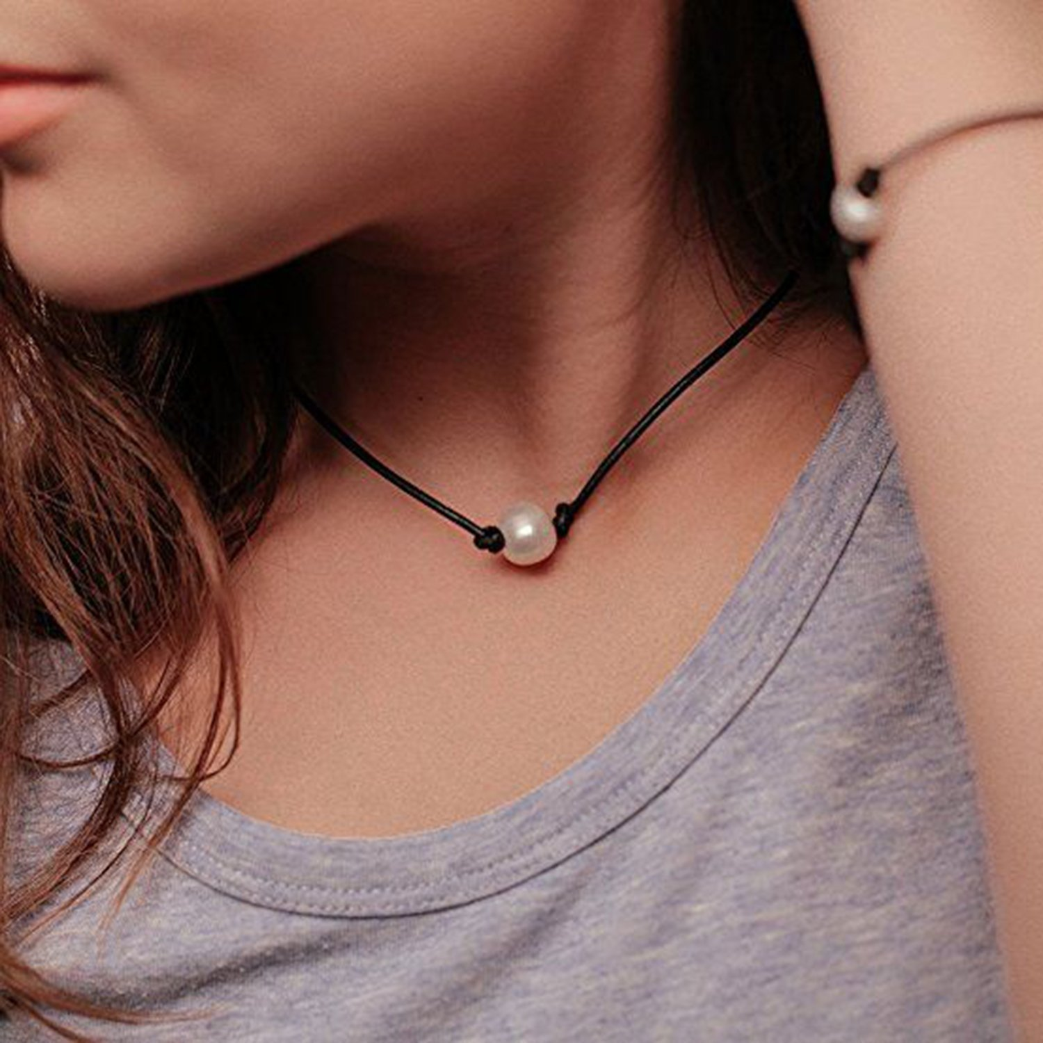 USA Annabel 3PCS Pearl Choker Leather Handmade Necklace for Women Jewelry Girls, Package Including Necklace, Bracelet and Earrings by USA Annabel (Image #4)