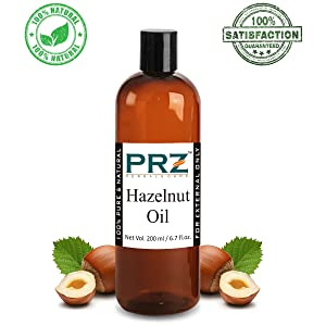 PRZ Hazelnut Cold Pressed Carrier Oil (200ML) - Pure Natural & Therapeutic Grade Oil For Aromatherapy Body Massage, Skin Care & Hair Care