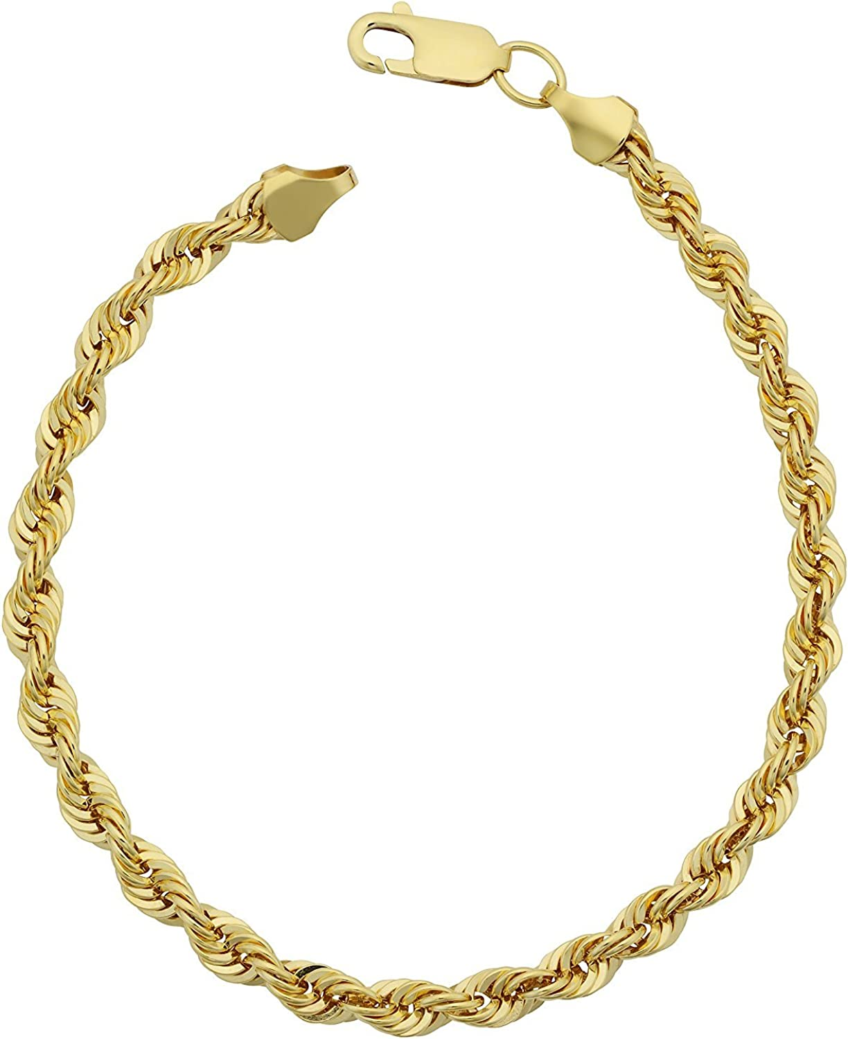 """14K Yellow Gold Filled Solid Rope Chain Bracelet, 4.5mm, 8.5"""""""