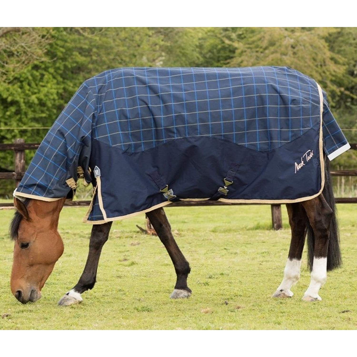 6'9\ Mark Todd 600 Denier Lightweight Combo Horse Turnout Rug Waterproof & Breathable (Navy Beige Royal Plaid 6' 9 ) and Tigerbox Antibacterial Pen