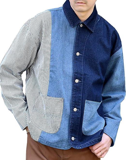 (アークティックプラント) Arctic Plant メンズ 綿100% デニム ヒッコリー クレイジー パターン カバーオール ジャケット
