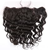Brazilian Hair Deep Wave Lace Frontal Closure 13x4 Free Part with Baby Hair Bleached Knots Natural Color