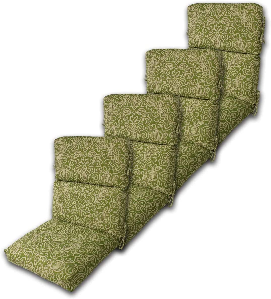 "Set of 4 Outdoor Chair Cushion 22"" W x 44"" L x 4.5"" H. Polyester Fabric Green Stencil by Comfort Classics Inc."