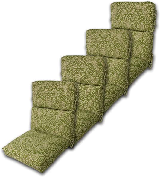 Editors' Choice: Set of 4 Outdoor Chair Cushion 22″ W x 44″ L x 4.5″ H. Polyester Fabric Green Stencil