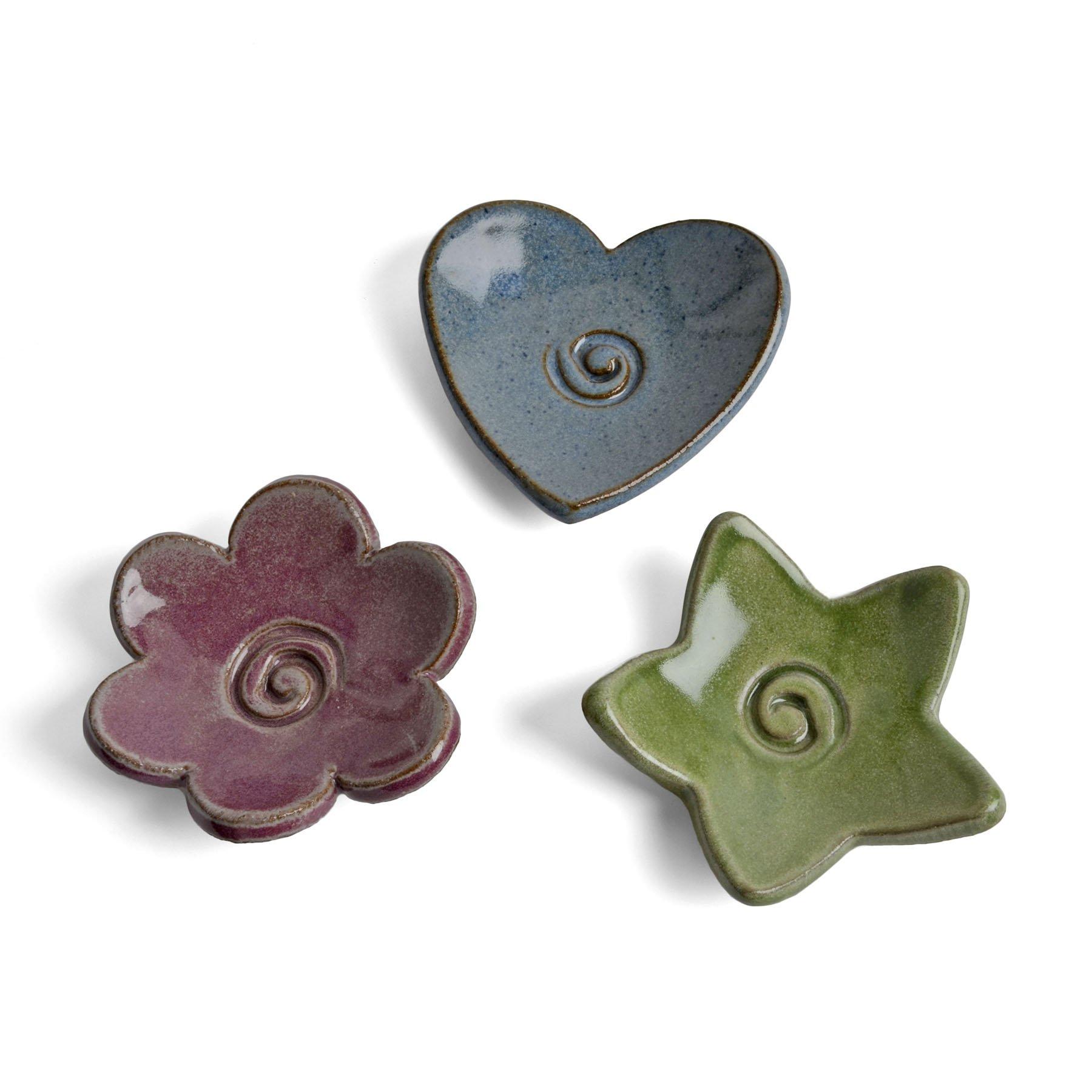 MudWorks Pottery Tea Bag Coasters Trinket Plates, Set of 3