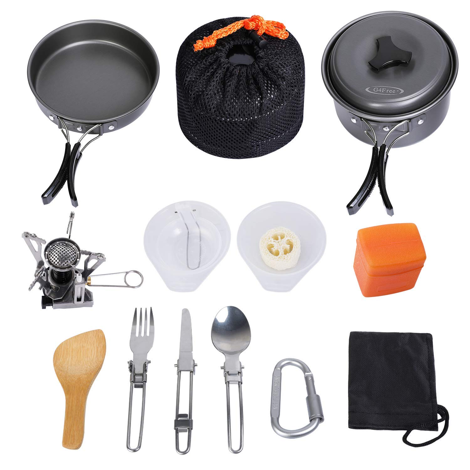 G4Free Outdoor Camping pan Hiking Cookware Backpacking Cooking Picnic Bowl Pot Pan Set 4/13 Piece Camping Cookware Mess Kit Knife Spoon(Grey) by G4Free