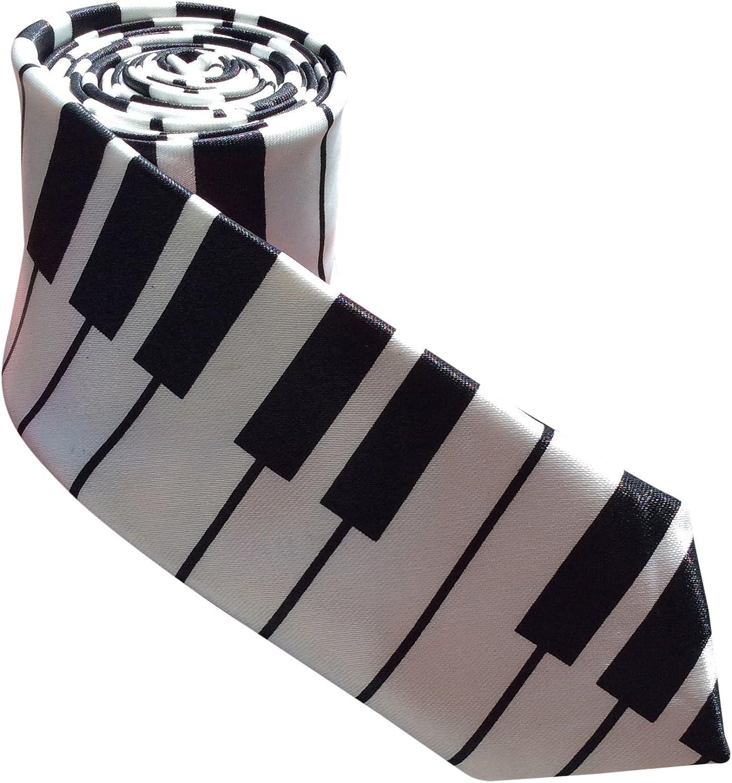 Teclas de piano para hombre corbata de fina negro (piano tie ...