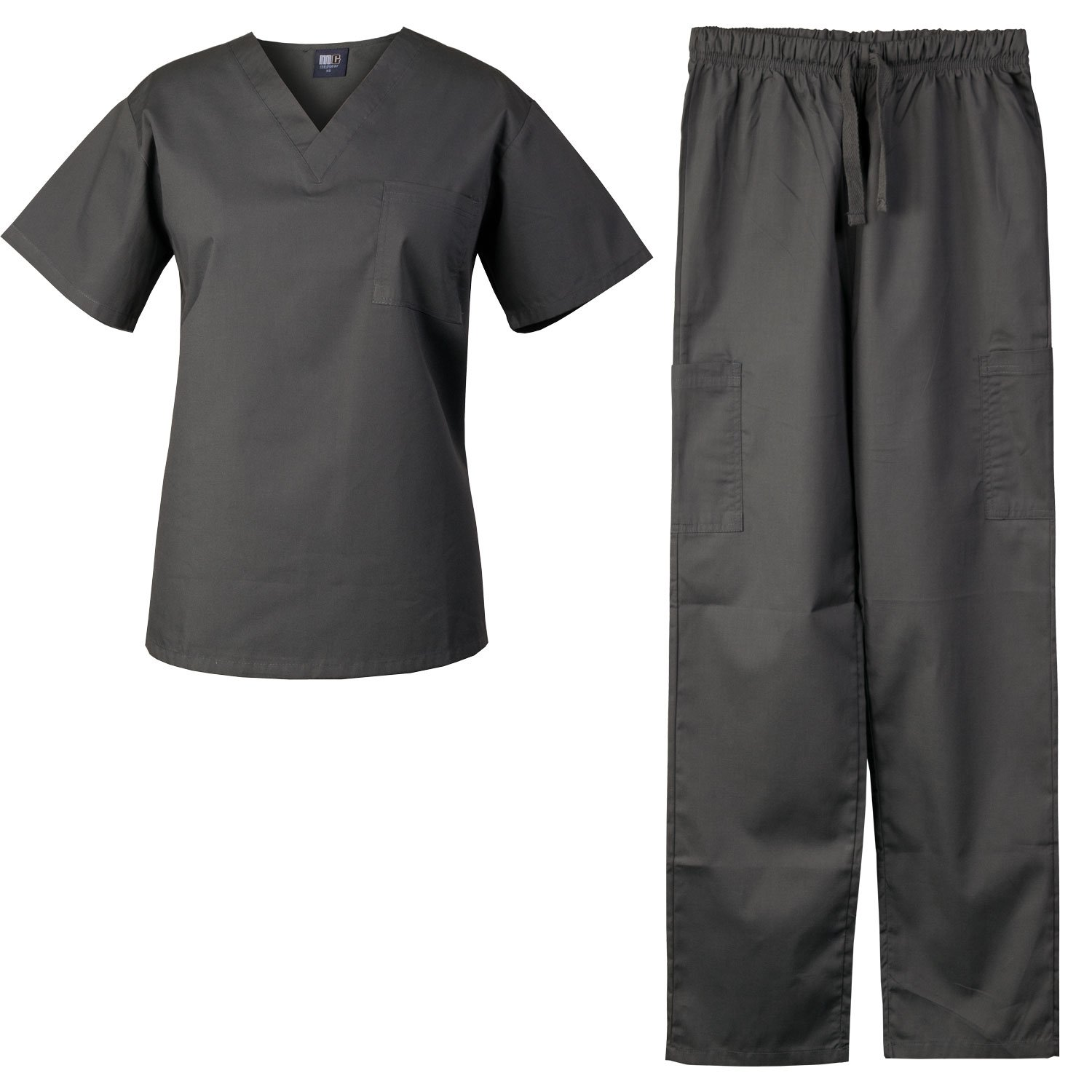 MedGear Scrubs Set Unisex Top and Pants, Medical Uniform, Multiple Colors 7881NW (M, Charcoal)