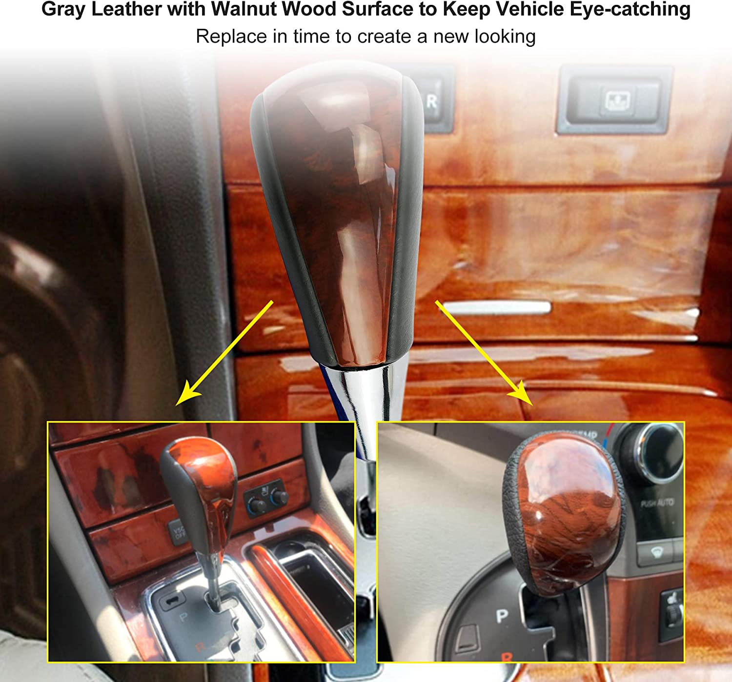 Qnbes Leather Wood Gear Shift Knob Fit for Lexus /& Toyota Multiple Models Upgrade Gray Brown Walnut Stick Lever Gear Shift Knob Compatible with Lexus Toyota ES GS SC Sienna Avalon Yaris 4Runner