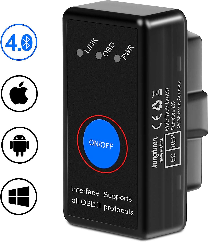 Kungfuren Obd2 Bluetooth 4 0 Adapter Für Iphone Ios Und Android Obd2 Diagnosegerät Scanner Mini Kfz Obd Pro Obd Ii Diagnosewerkzeuge Auto Code Reader Auto