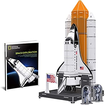 CubicFun National Geographic 3D Kids Puzzles Roket Ship Toys NASA Space Model Kits for Children and Teens with Booklet, DS0970h