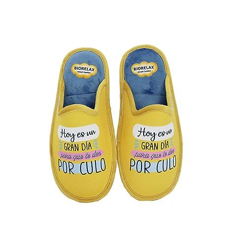 Biorelax by Zapattu - Zapatillas de Casa Mujer Hoy es un Gran Día para Que te de por Culo: Amazon.es: Zapatos y complementos