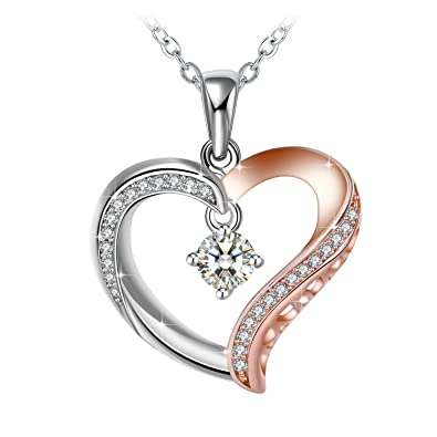 Necklace, 925 Silver Necklace ZHULERY Love Heart Pendant with Cubic Zirconia 18