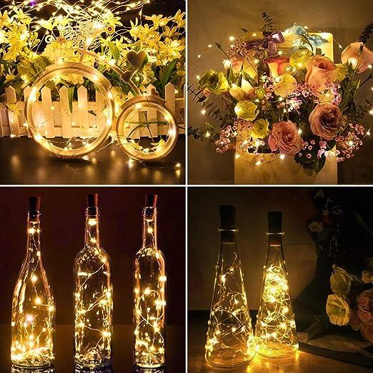 Luces de corcho para botella de vino, 8 paquetes Funciona con ...