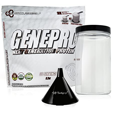 Protein Powder GENEPRO – Musclegen Research-Premium Protein for Absorption, Muscle Growth Bariatric – Organic Gluten Free Flavorless No Sugar Non GMO Funnel Clear Storage Container