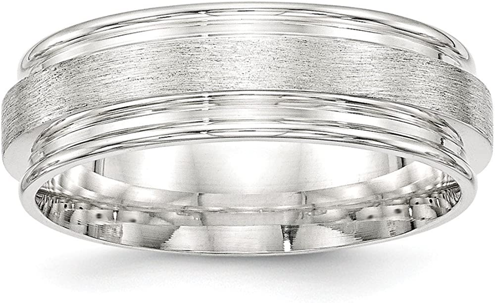 Solid 925 Sterling Silver 7mm Brushed Fancy Wedding Band