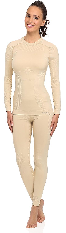 Merry Style Damen Funktionsunterwäsche Set lange Unterhose plus langarm Shirt thermoaktiv 06 110 120