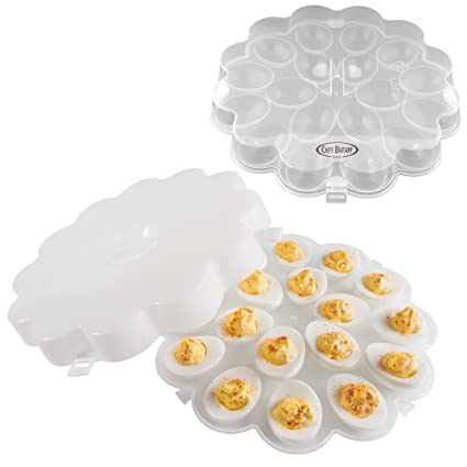 Amazon Com Chef Buddy 82 Y3458 Deviled Egg Trays With Snap On Lids
