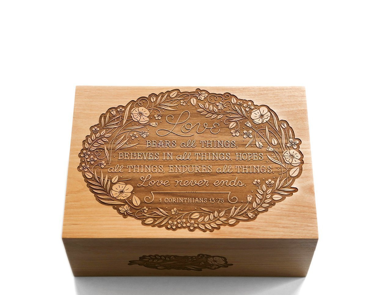 Love Never Ends - Wood Laser Cut Keepsake Box (Wedding Gift / 5th Anniversary / Heirloom / Decorative / Handmade) by Cardtorial