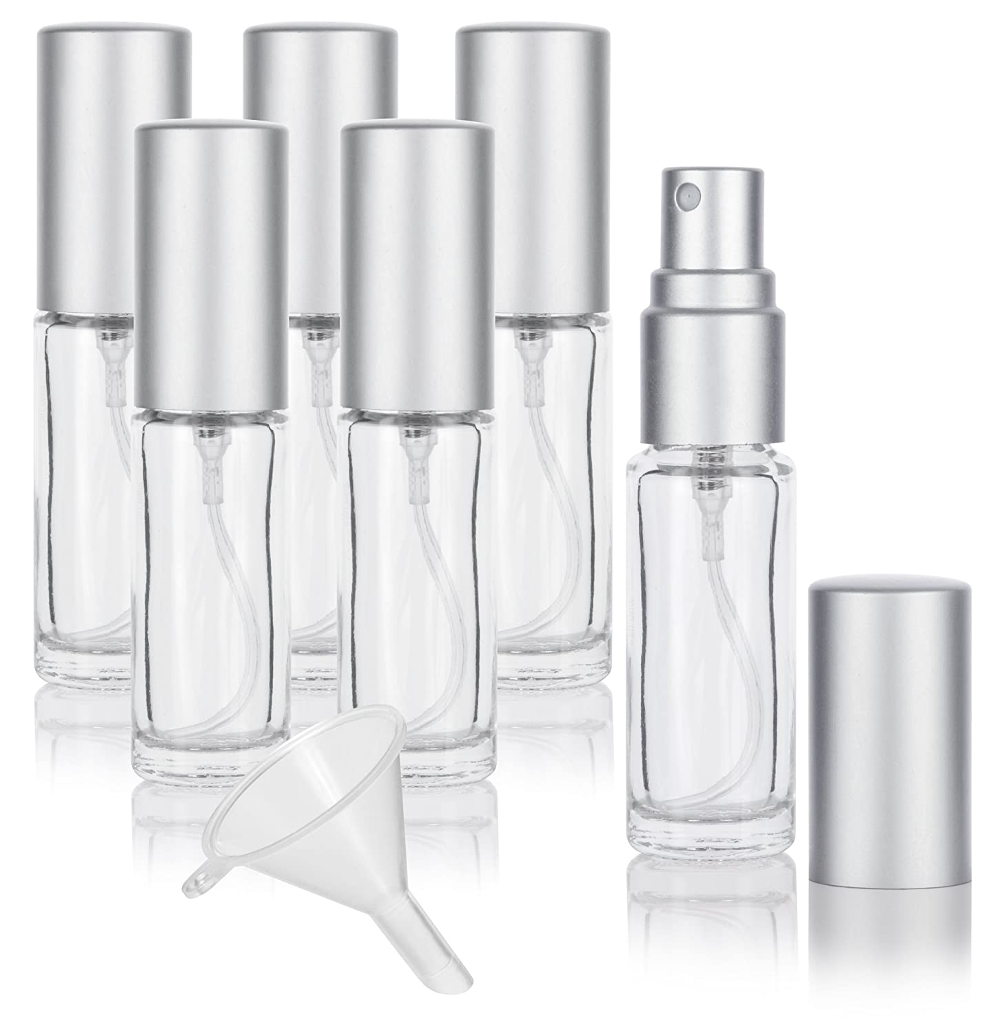 Amazon.com   Clear Glass 0.15 oz 5 ml Refillable Small Travel Perfume Spray  Bottle (6 PACK) + Funnel   Beauty e66ad6a7e14c