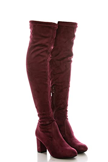 b7a7af4f51 Amazon.com | calico KiKi Women's Over The Knee High Boots - Faux Suede Mid  Heel Boots with Back Tie and Side Zip (8.5 US Wine SU) | Over-the-Knee